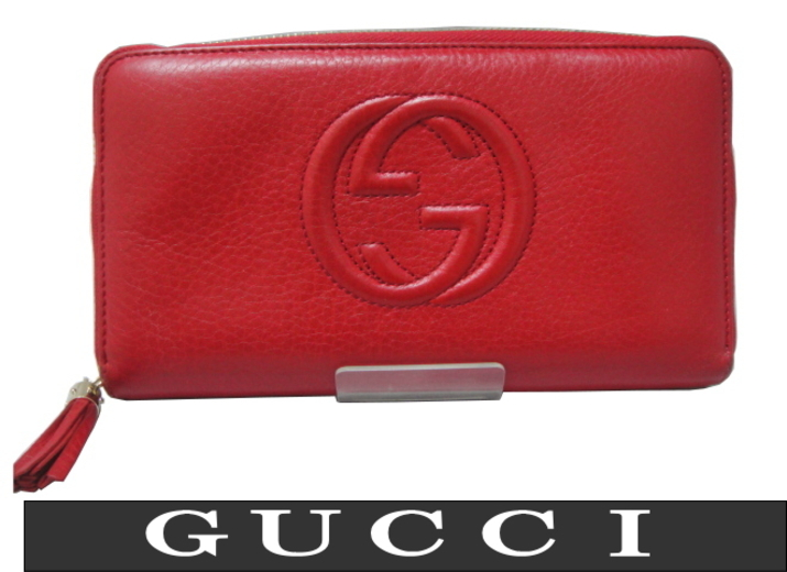 huge discount 12ff7 47460 □GUCCI グッチ□レザー□ラウンドファスナー財布□レッド ...